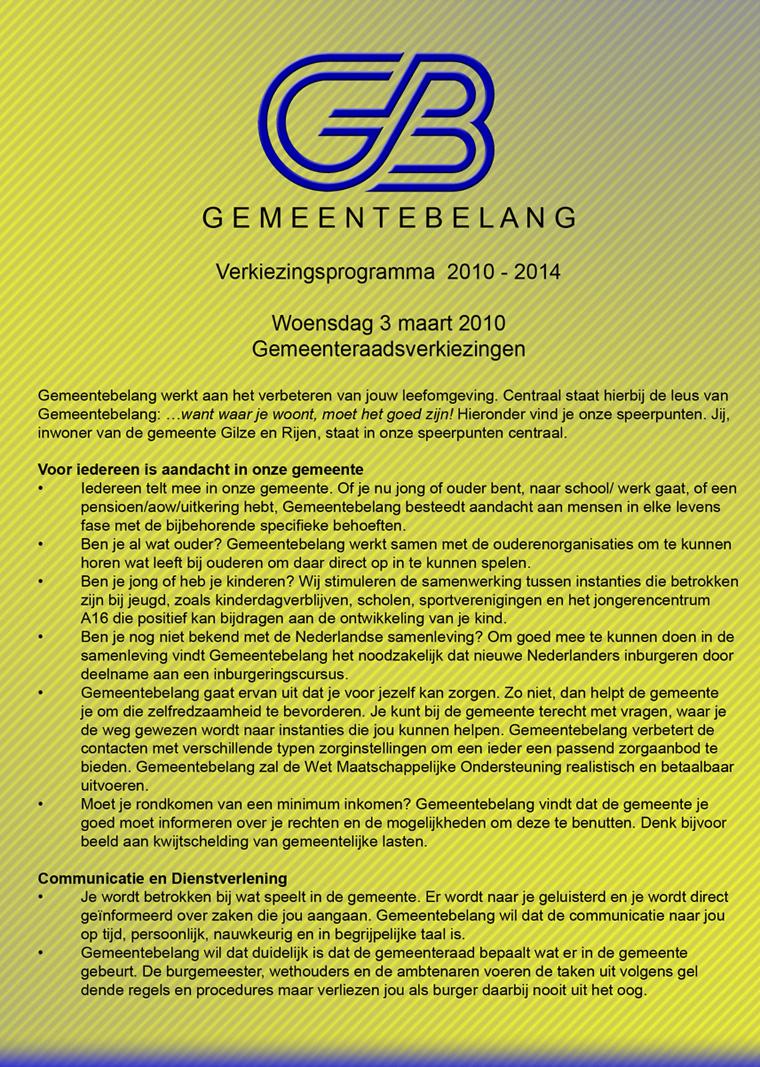 Verkiezingsprogramma 2010-2014 pagina 1